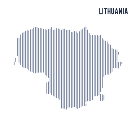central european: Vector abstract hatched map of Lithuania with vertical lines isolated on a white background. Travel vector illustration. Illustration