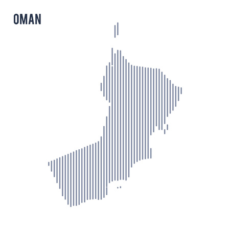 Vector abstract hatched map of Oman with vertical lines isolated on a white background. Travel vector illustration. Illustration