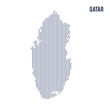Vector abstract hatched map of Qatar with vertical lines isolated on a white background. Travel vector illustration.