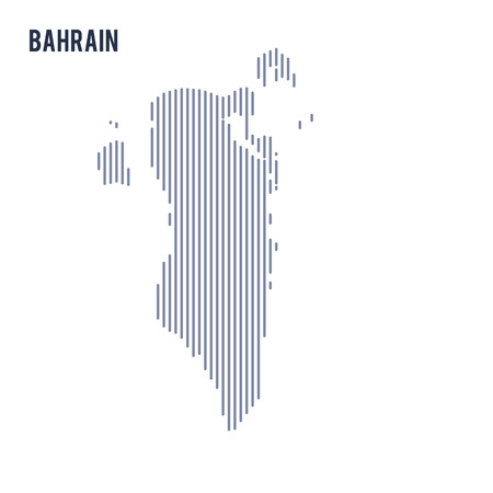 asian business: Vector abstract hatched map of Bahrain with vertical lines isolated on a white background. Travel vector illustration. Illustration