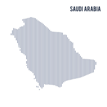 Vector abstract hatched map of Saudi Arabia with vertical lines isolated on a white background. Travel vector illustration.