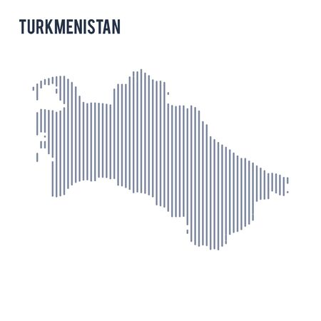 Vector abstract hatched map of Turkmenistan with vertical lines isolated on a white background. Travel vector illustration. Illustration