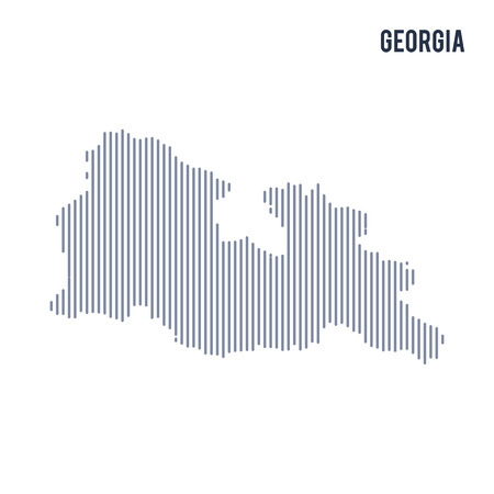 Vector abstract hatched map of Georgia with vertical lines isolated on a white background. Travel vector illustration.