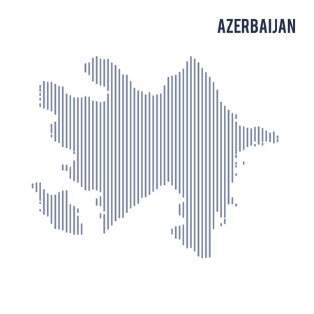 Vector abstract hatched map of Azerbaijan with vertical lines isolated on a white background. Travel vector illustration.