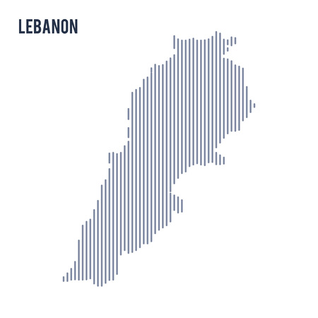 Vector abstract hatched map of Lebanon with vertical lines isolated on a white background. Travel vector illustration. Illustration