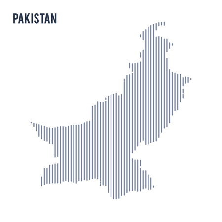 asian business: Vector abstract hatched map of Pakistan with vertical lines isolated on a white background. Travel vector illustration. Illustration