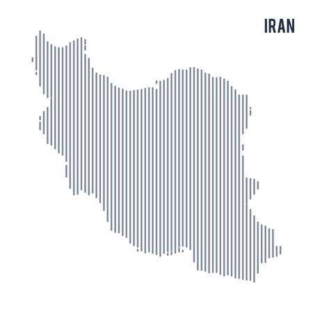 Vector abstract hatched map of Iran with vertical lines isolated on a white background. Travel vector illustration. Illustration