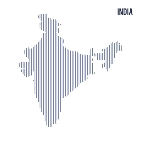 asian business: Vector abstract hatched map of India with vertical lines isolated on a white background. Travel vector illustration.
