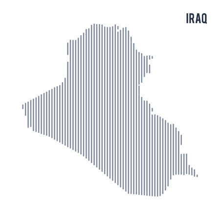 iraq: Vector abstract hatched map of Iraq with vertical lines isolated on a white background. Travel vector illustration. Illustration