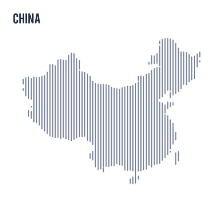 asian business: Vector abstract hatched map of China with vertical lines isolated on a white background. Travel vector illustration.