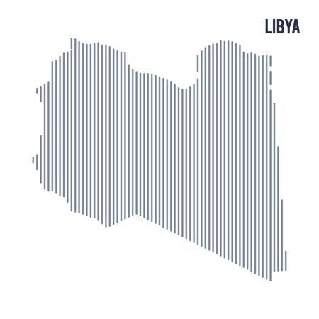 Vector abstract hatched map of Libya with vertical lines isolated on a white background. Travel vector illustration.