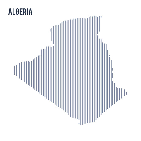 algeria: Vector abstract hatched map of Algeria with vertical lines isolated on a white background. Travel vector illustration. Illustration