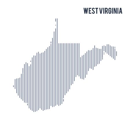 Vector abstract hatched map of State of West Virginia with vertical lines isolated on a white background. Travel vector illustration.
