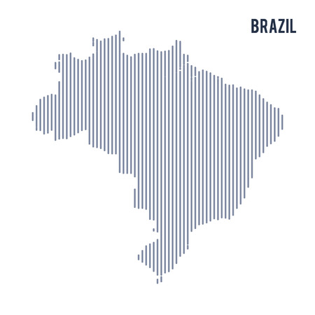 Vector abstract hatched map of Brazil with vertical lines isolated on a white background. Travel vector illustration.
