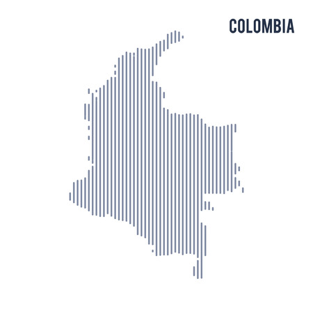 Vector abstract hatched map of Colombia with vertical lines isolated on a white background. Travel vector illustration.
