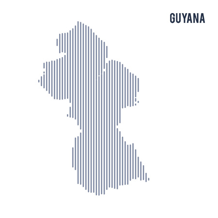 Vector abstract hatched map of Guyana with vertical lines isolated on a white background. Travel vector illustration. Illustration