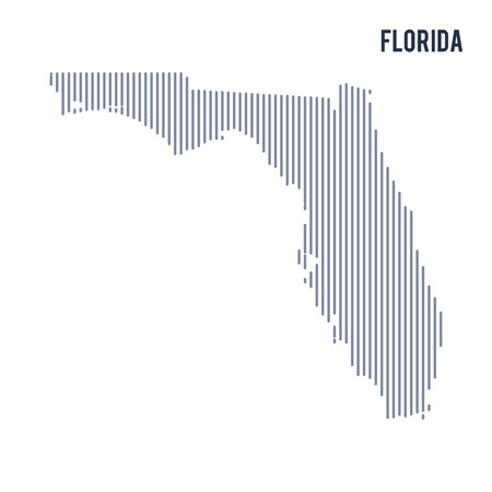 Vector abstract hatched map of State of Florida with vertical lines isolated on a white background. Travel vector illustration.