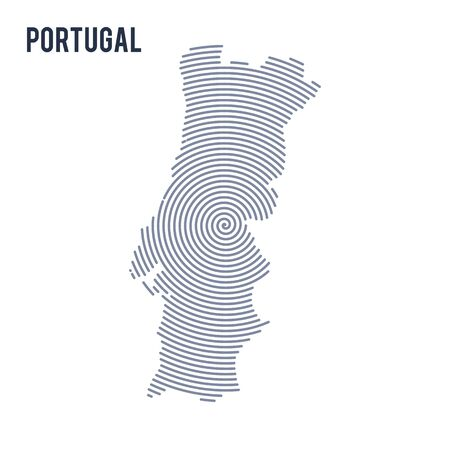 A Vector abstract hatched map of Portugal with spiral lines isolated on a white background.