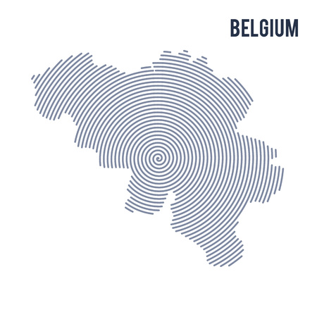 A Vector abstract hatched map of Belgium with spiral lines isolated on a white background. Travel vector illustration. Illustration