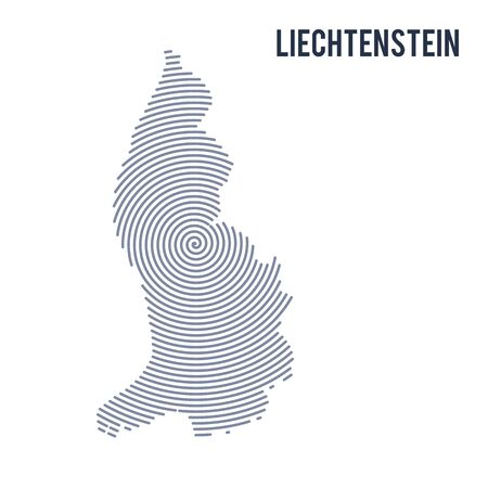 A Vector abstract hatched map of Liechtenstein with spiral lines isolated on a white background. Travel vector illustration.