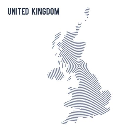 A Vector abstract hatched map of United Kingdom with spiral lines isolated on a white background. Travel vector illustration.