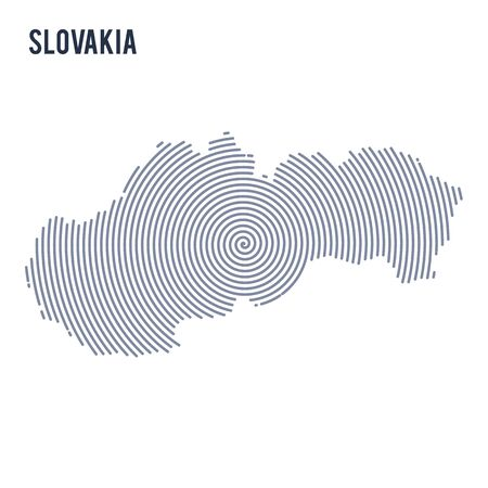 Vector abstract hatched map of Slovakia with spiral lines isolated on a white background. Travel vector illustration. Illustration