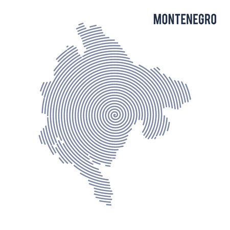 A Vector abstract hatched map of Montenegro with spiral lines isolated on a white background. Travel vector illustration.