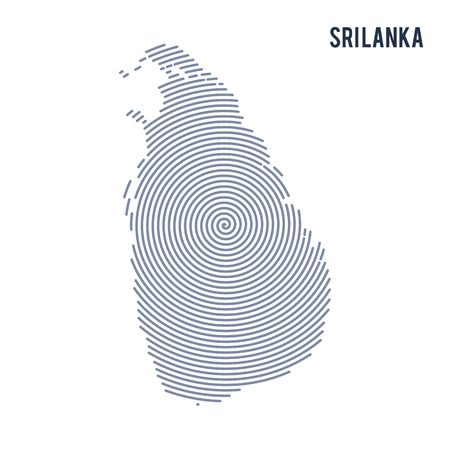 Vector abstract hatched map of Sri Lanka with spiral lines isolated on a white background. Travel vector illustration.