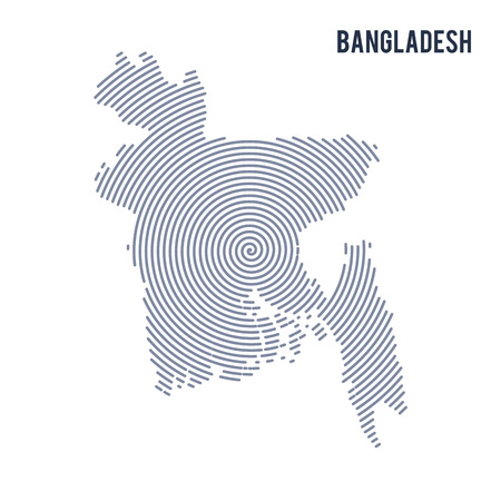 Vector abstract hatched map of Bangladesh with spiral lines isolated on a white background. Travel vector illustration. Illustration