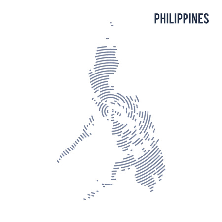 asian business: Vector abstract hatched map of Philippines with spiral lines isolated on a white background. Travel vector illustration. Illustration