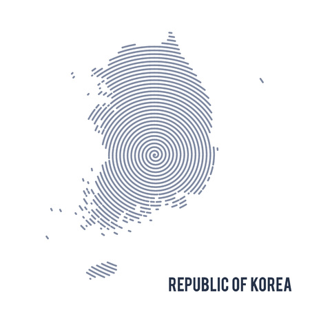 Vector abstract hatched map of Republic of Korea with spiral lines isolated on a white background. Travel vector illustration.