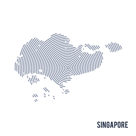 Vector abstract hatched map of Singapore with spiral lines isolated on a white background. Travel vector illustration.