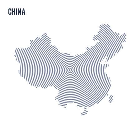 Vector abstracte uitgebroken kaart van China met spiraal lijnen geïsoleerd op een witte achtergrond. Reis vector illustratie.