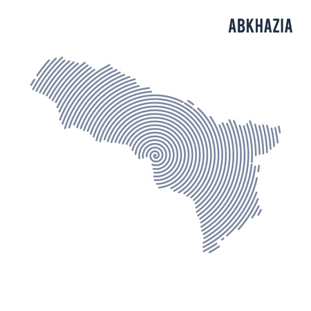 Vector abstract hatched map of Abkhazia with spiral lines isolated on a white background. Travel vector illustration. Illustration