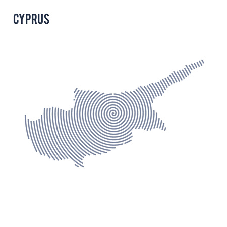 Vector abstract hatched map of Cyprus with spiral lines isolated on a white background. Travel vector illustration. Illustration