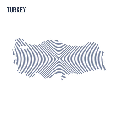 Vector abstract hatched map of Turkey with spiral lines isolated on a white background. Travel vector illustration. Illustration