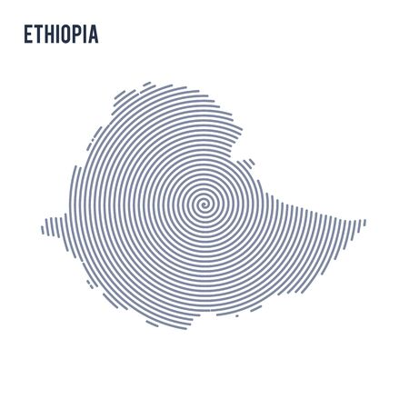 A Vector abstract hatched map of Ethiopia with spiral lines isolated on a white background. Illustration