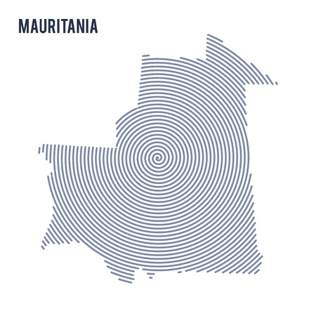 Vector abstract hatched map of Mauritania with spiral lines isolated on a white background. Travel vector illustration. Illustration