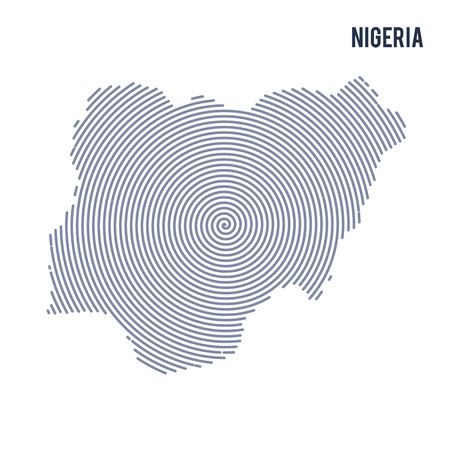 Vector abstract hatched map of Nigeria with spiral lines isolated on a white background. Travel vector illustration.