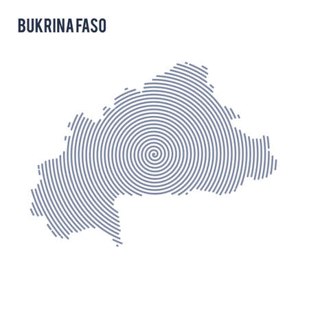 Vector abstract hatched map of Bukina Faso with spiral lines isolated on a white background. Travel vector illustration.