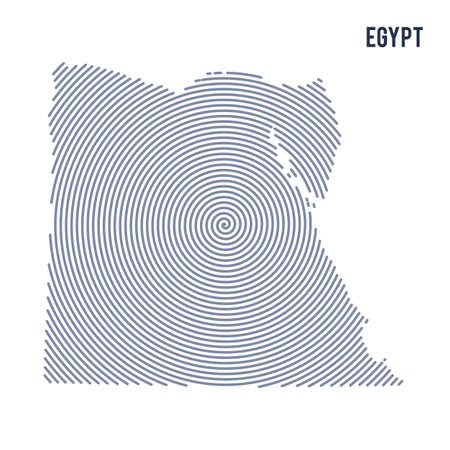 Vector abstract hatched map of Egypt with spiral lines isolated on a white background. Travel vector illustration. Illustration