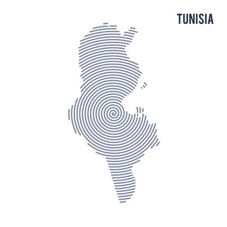 Vector abstract hatched map of Tunisia with spiral lines isolated on a white background. Travel vector illustration. Illustration