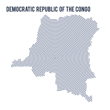 Vector abstract hatched map of Democratic Republic of the Congo with spiral lines isolated on a white background. Travel vector illustration. Illustration