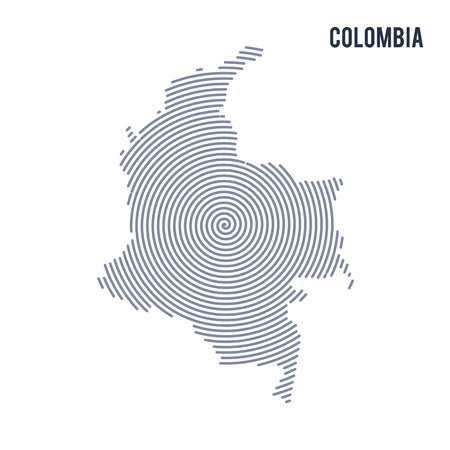 A Vector abstract hatched map of Colombia with spiral lines isolated on a white background. Illustration