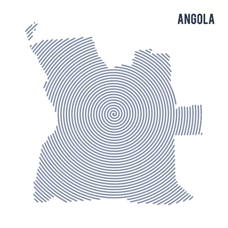 Vector abstract hatched map of Angola with spiral lines isolated on a white background. Travel vector illustration.