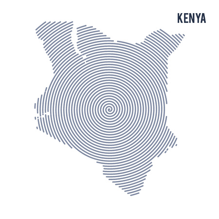 kenya: Vector abstract hatched map of Kenya with spiral lines isolated on a white background. Travel vector illustration.
