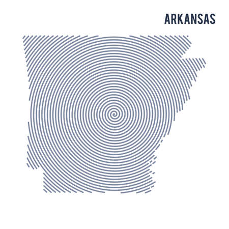 Abstract hatched map of State of Arkansas with spiral lines isolated on a white background.