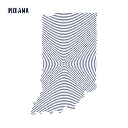 Abstract hatched map of State of Indiana with spiral lines isolated on a white background.