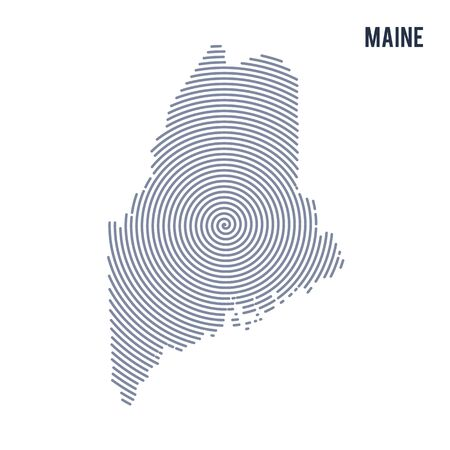 Vector abstract hatched map of State of Maine with spiral lines isolated on a white background. Travel vector illustration.