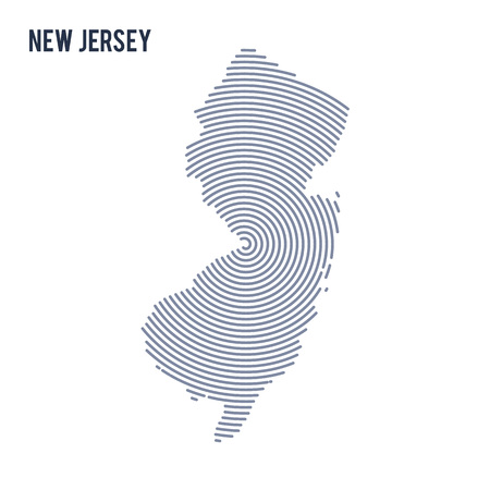 Abstract hatched map of State of New Jersey with spiral lines isolated on a white background. Illustration